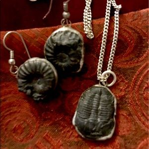 💋Reduced Fossil Necklace with Matching Earrings